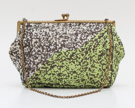 30s Lime Green Beaded Bag - Vintage 1930s Color Bl