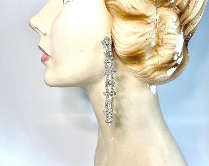 Vintage White Rhinestone Dangle Earrings - 1960s