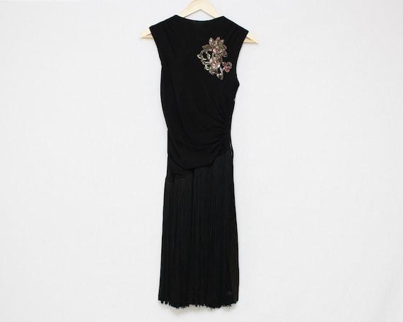 20s Black Flapper Dress - Fringe Skirt Cocktail Dr