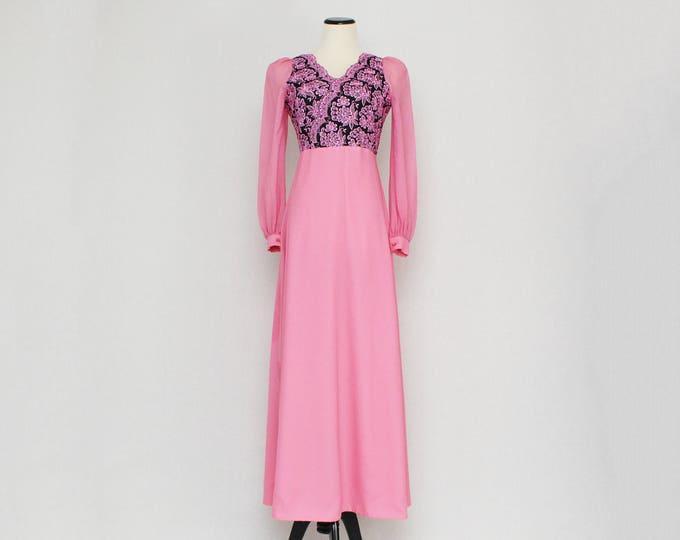 Vintage 1970s Pink Hostess Maxi Dress - Size Small