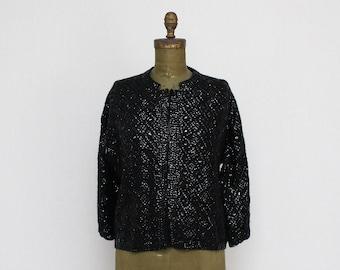 Black Beaded Cardigan - Size Large Vintage 1980s Black Sequin Sweater