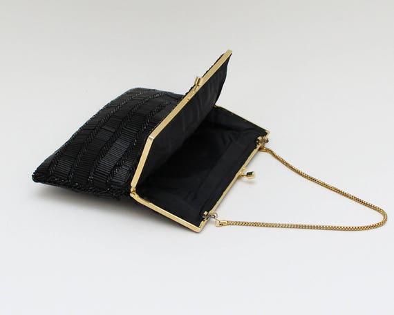 60s Black Beaded Evening Bag - Vintage 1960s Bead… - image 7