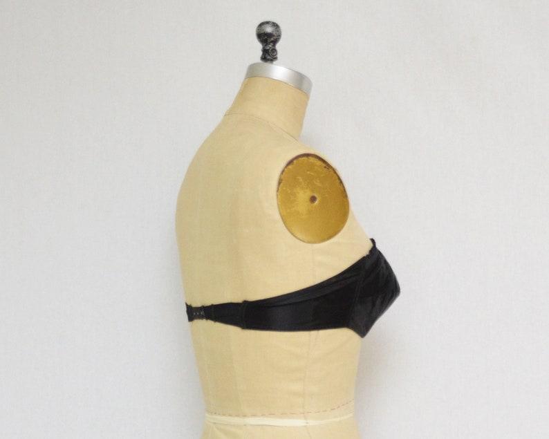 36 Inches Vintage 1940s Satin Pin Up Bra 40s Black Strapless Bra