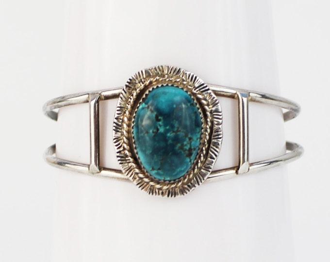 Sterling Silver Turquoise Bracelet - Vintage 1970s Boho Silver Cuff