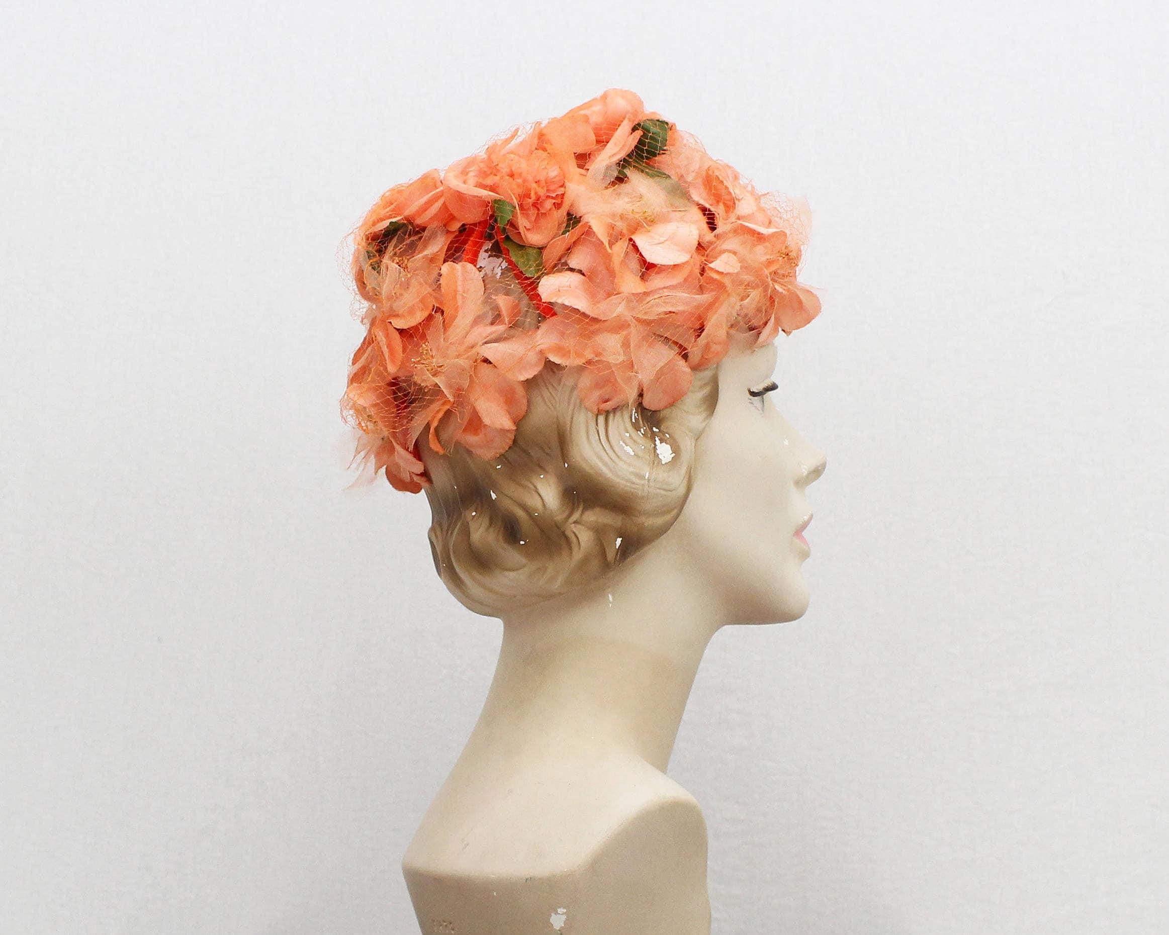 7afd99b17c8954 50s Coral Peach Floral Cage Hat - Vintage 1950s Women's Flower Hat