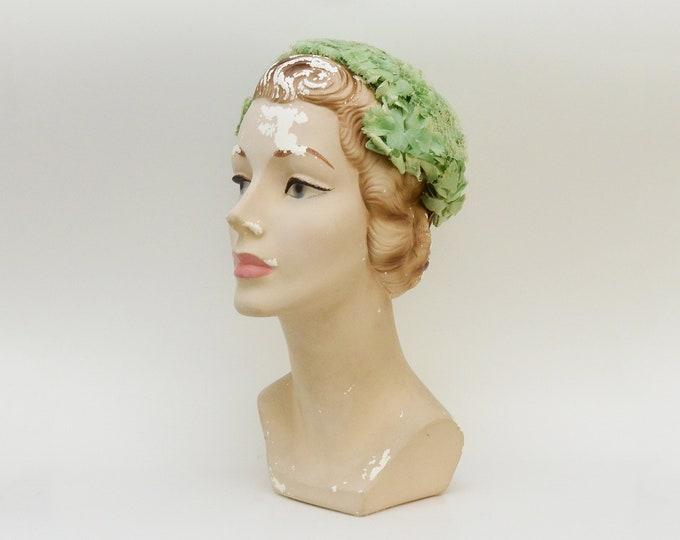 Vintage 1950s Green Floral Hat