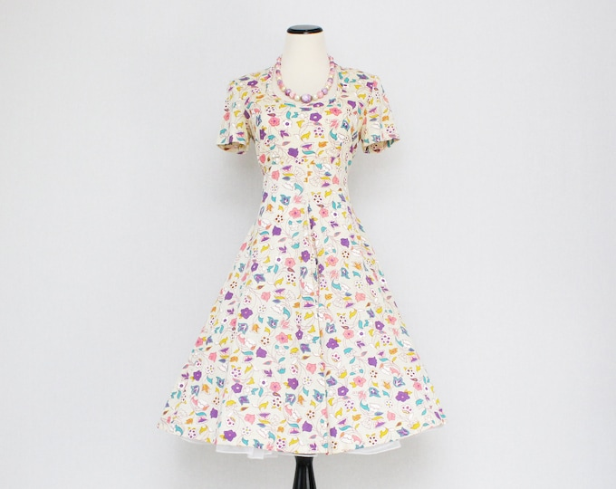 Vintage 1960s Spring Floral Day Dress by Cirette of California - Size Medium