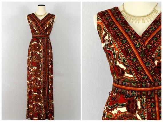 60s Dress Paisley Dress Boho Wrap 1960s Maxi Vintage Bohemian Belted Print Orange Dress x7Egqwf