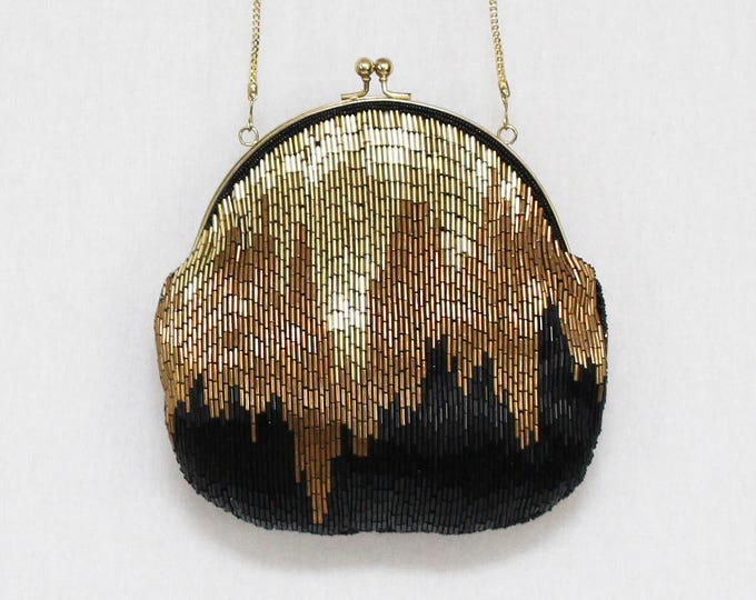 Vintage Metallic and Black Beaded Evening Bag