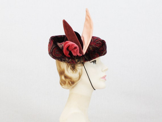 Paisley Tit Hat - Maroon Gold and Pink Cocktail Ha