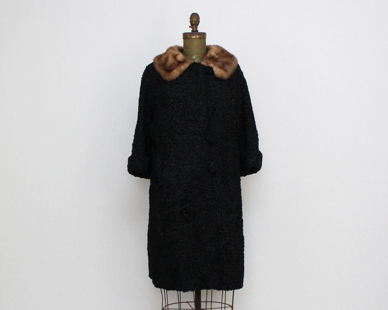 a09a0c9c2db Fur Trimmed Persian Lambs Wool Coat Size Medium Vintage
