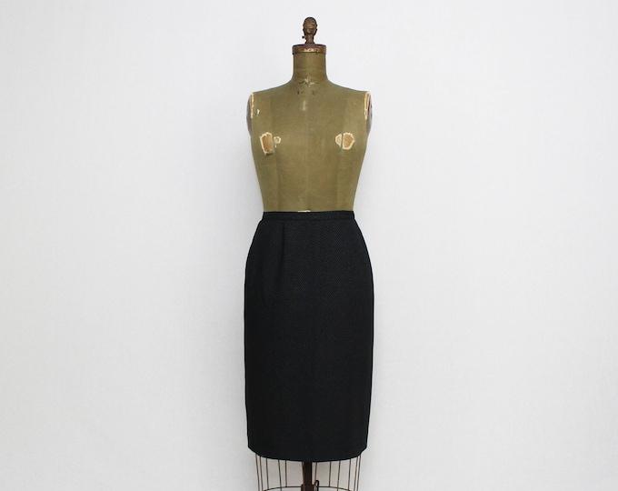 Vintage 1980s Albert Nipon Black Micro Dot Pencil Skirt - Size Small