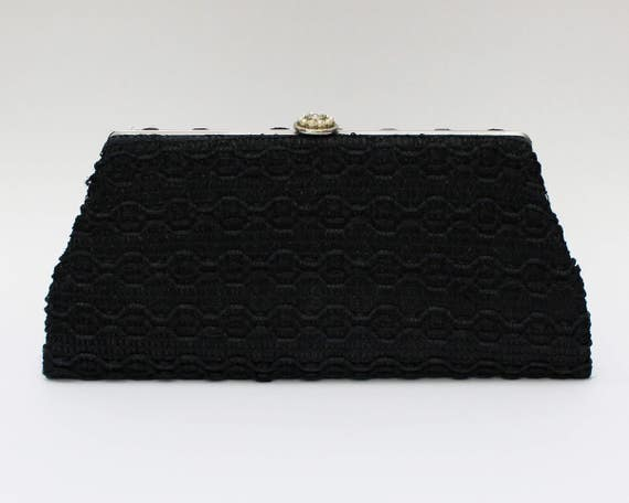 60s Black Woven Straw Clutch - Vintage 1960s Woven