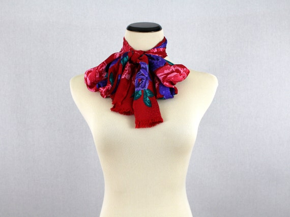 Red Rose Print Scarf - Bill Blass Floral Print Sc… - image 4