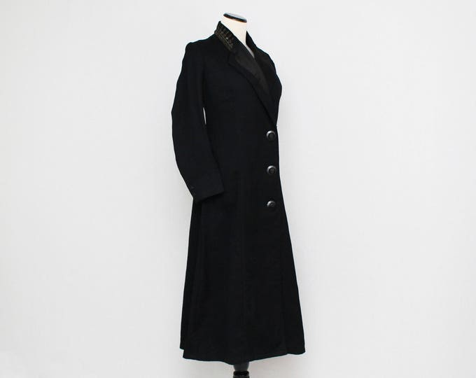 Antique 1910s Edwardian Long Wool Coat - Size Small