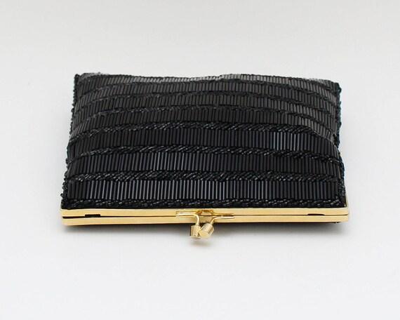 60s Black Beaded Evening Bag - Vintage 1960s Bead… - image 5