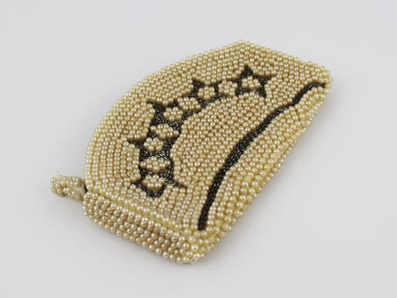 30s Beaded Purse - Ivory and Silver Beaded Clutch… - image 3
