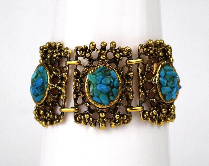 Vintage Gold and Turquoise Statement Bracelet - 70s Boho Turquoise Bracelet - VTG 1970s Large Link Bracelet