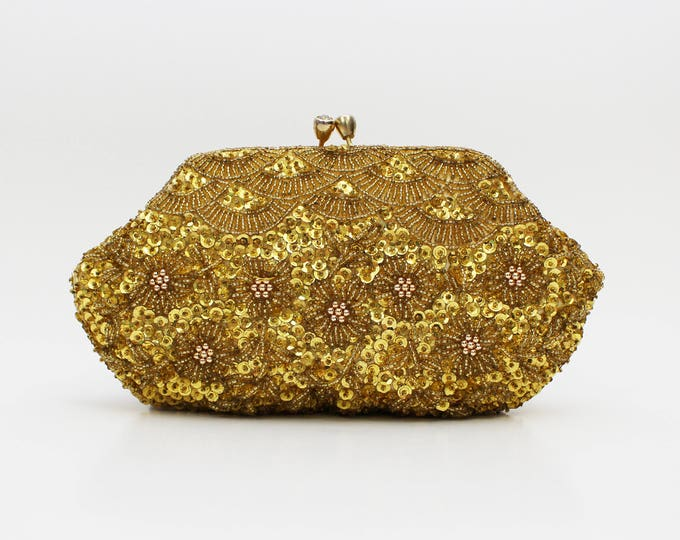 Gold Beaded Floral Clutch - Vintage 1950s Kiss Lock Metallic Evening Bag