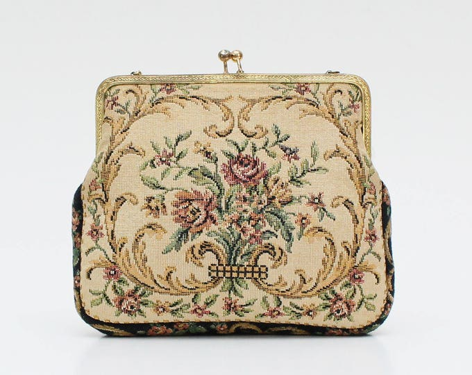 Vintage 1930s Floral Tapestry Purse