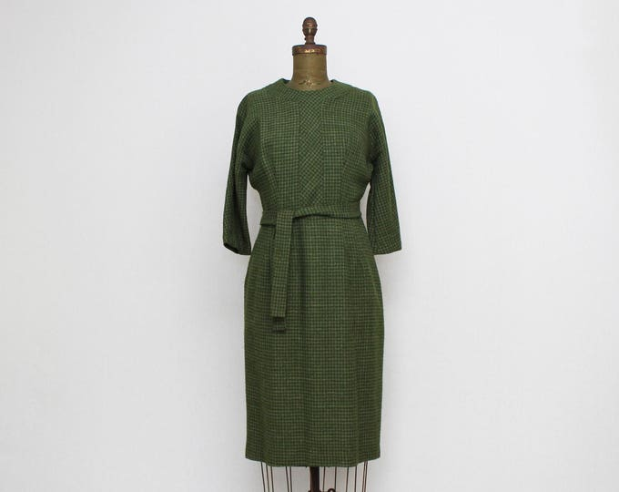 Vinage 1940s Green Wool Houndstooth Dress- Size Small