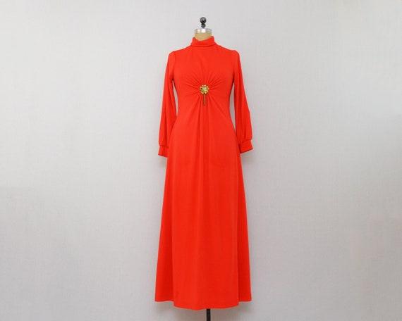 Vintage Red Hostess Dress - Size Medium - 1970s