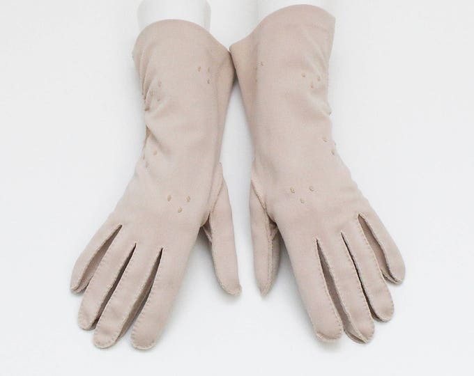 Vintage 1960s Beige Half Length Gloves - Size Large