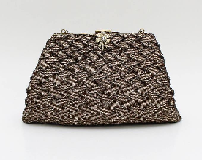 Vintage 1950s Brown and Gold Evening Bag