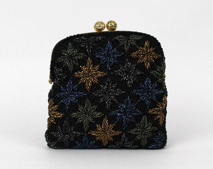Black Beaded Evening Bag - Vintage 1950s Glass Beaded Starburst Clutch