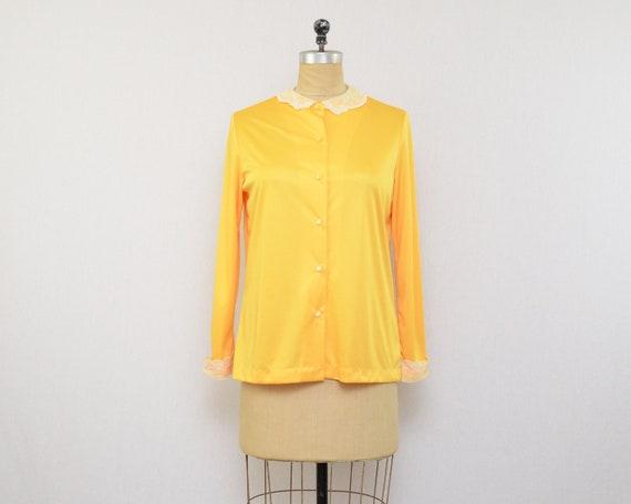 Yellow Button Down Blouse - Size Large Vintage 197