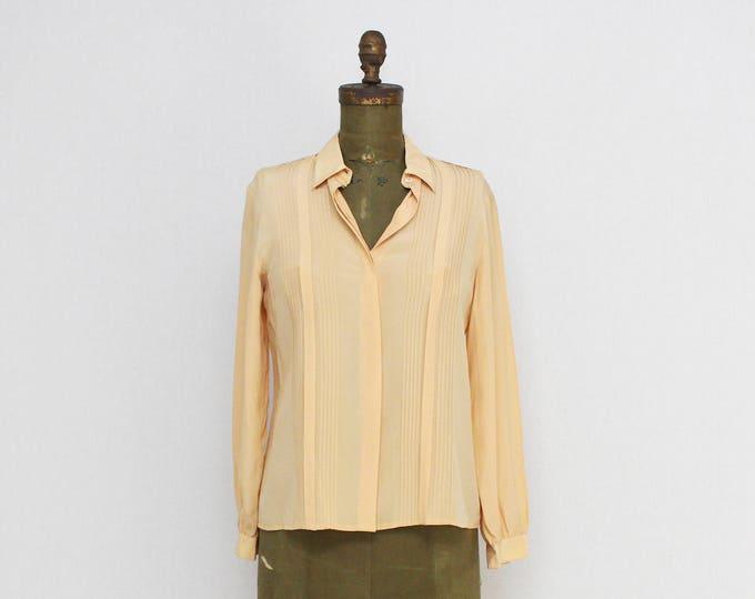 Vintage 1980s Peach Pin Tuck Silk Blouse - Size Medium