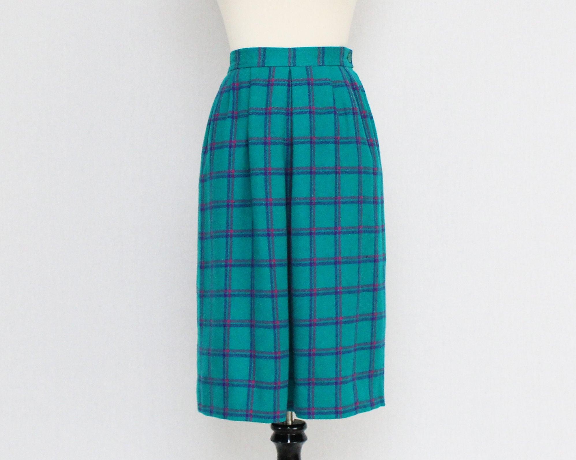 03797ce2f6 Women's Pendleton Petite Tartan Plaid Skirts Pendleton Skirts For Women:  Vintage 1970s Pendleton Teal Plaid Wool Skirt