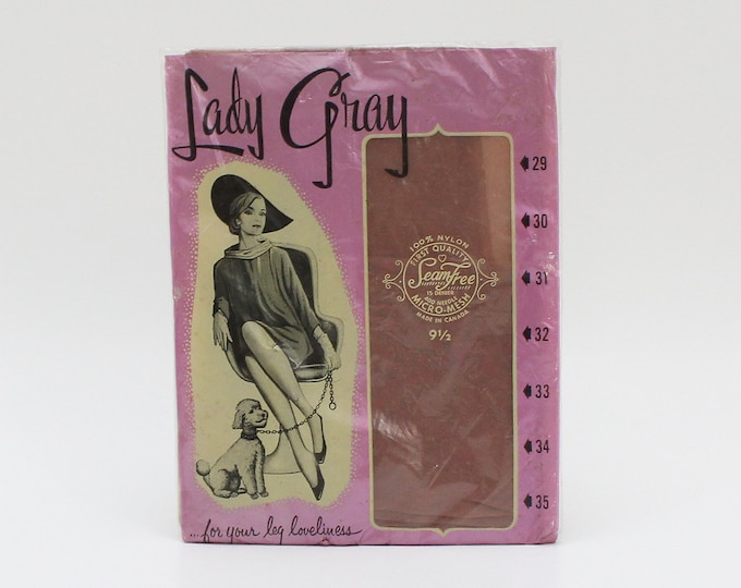 Vintage 1950s Lady Gray Nylon Stockings - Size 9.5