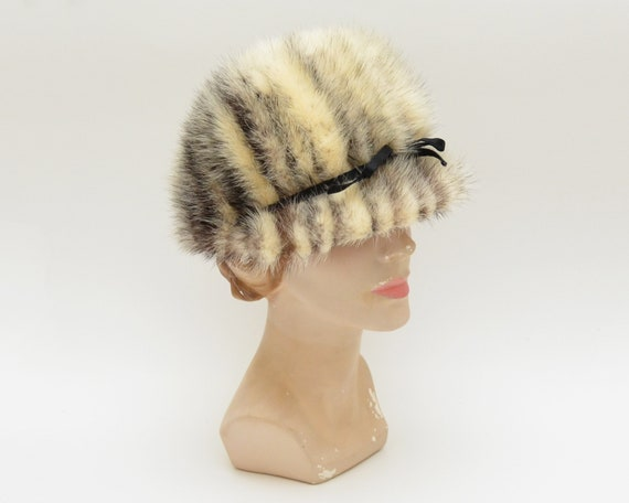 Striped Fur Hat - Vintage 1960s Mod Winter Hat