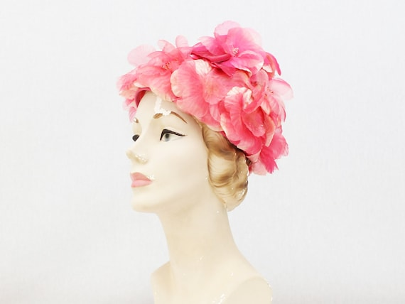 Pink Flower Hat - Vintage 1960s Floral Church Hat