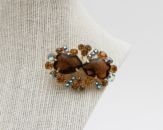 Amber and Root Beer Rhinestone Brooch - Vintage 19
