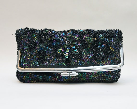 Vintage 1960s Fold Over Beaded and Sequin Clutch
