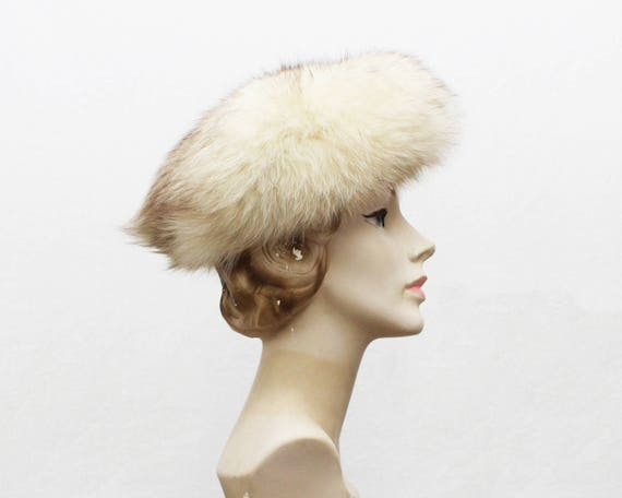 60s White Fox Fur Hat - Vintage 1960s Genuine Fur