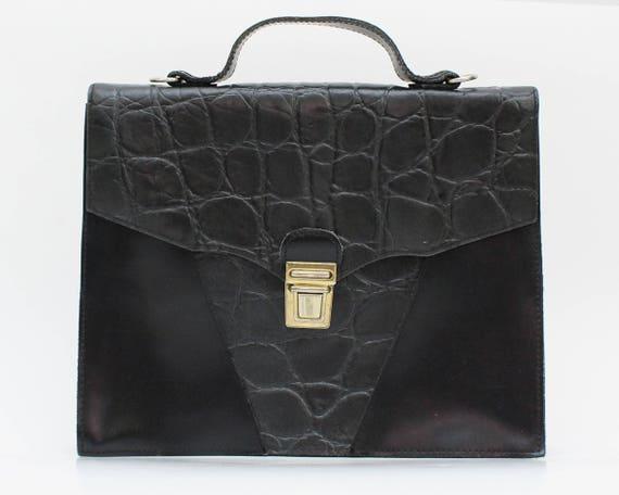 Black Leather Briefcase Purse - Vintage 1970s Rept