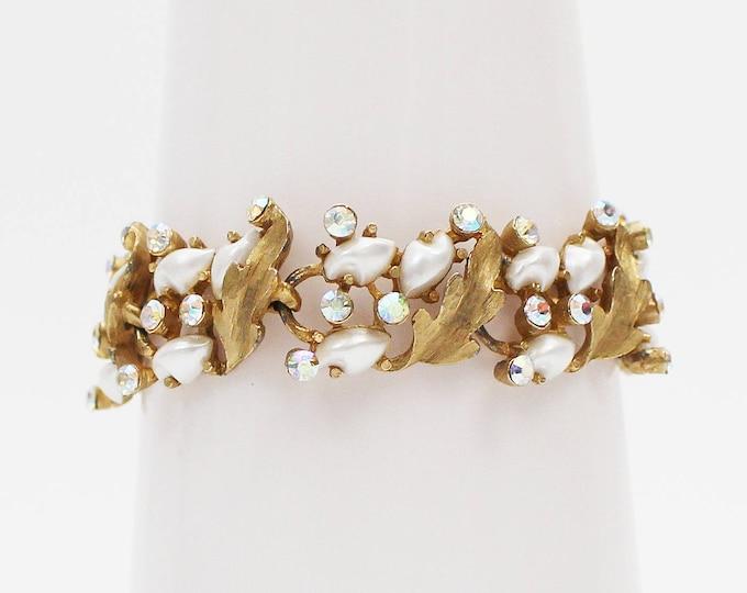 Gold Aurora Borealis Rhinestone Bracelet - Vintage 1960s Faux Pearl Cocktail Bracelet