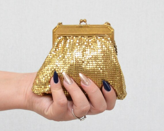 Vintage 1940s Gold Metallic Mesh Evening Bag by Wh