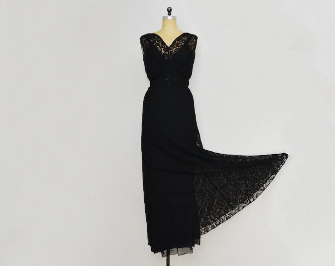 Vintage 1930s Art Deco Black Lace Dress and Jacket - Size Medium
