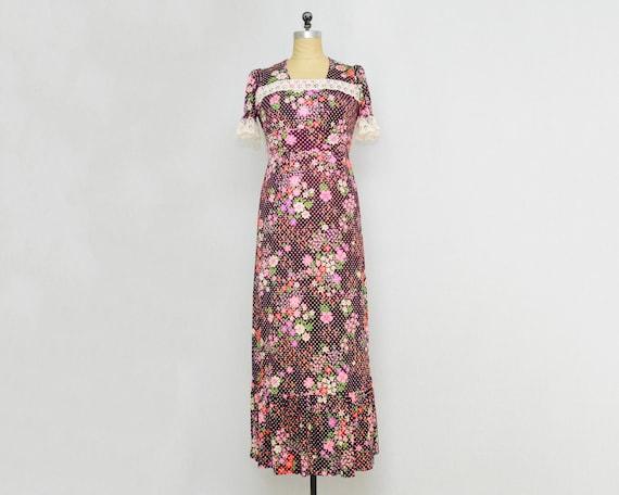 Plum Polka Dot Floral Maxi Dress - Vintage 1960s B