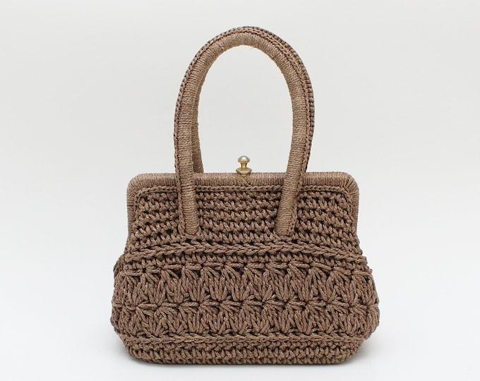 Vintage 1950s Structured Crochet Handbag