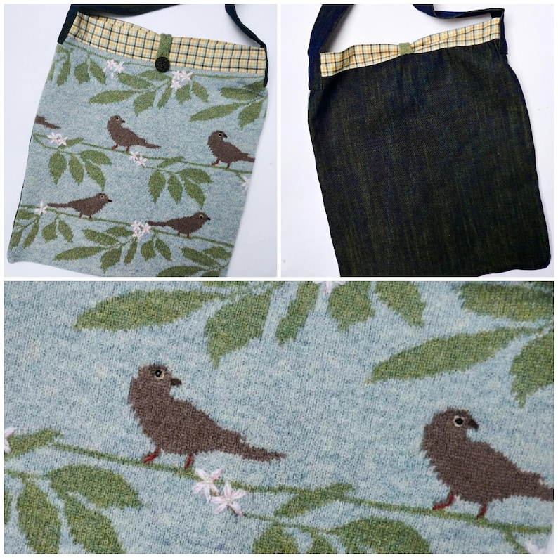 A beautiful bird inspired knitted tote bag Garden visitor