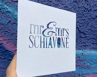 Personalized Wedding Card, Custom Wedding Card, Hand Cut Card