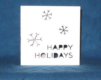 Happy Holidays Snowflake Card, Happy Hanukkah, Merry Christmas, Hand Cut Card