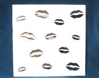Lips Kiss Card, Valentine's Day Card, Hand Cut Card