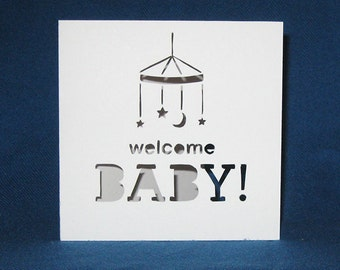 Personalized Baby Card, Welcome Baby, Hand Cut Card