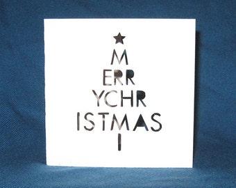 Merry Christmas Tree, Hand Cut Card